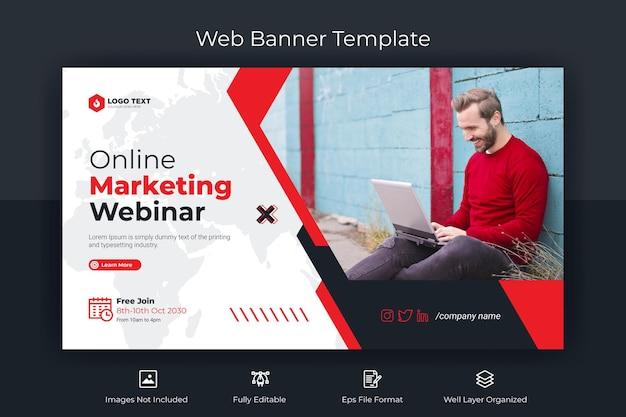 Webbanner voor online marketing webinar en youtube-miniatuursjabloon