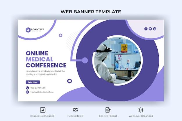 Webbanner voor online medische conferentie en youtube-miniatuursjabloon