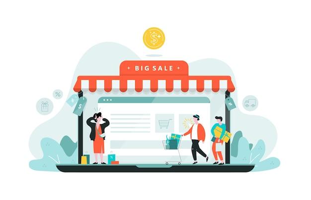 Webbanner voor online winkelen. klant dienstverleningsconcept