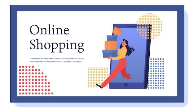 Webbanner voor online winkelen. klantenservice en levering, volgen en kopen. e-commerce webbanner. online winkelen en mobiele marketing. illustratie