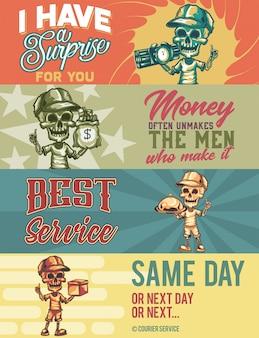 Webbannermalplaatje met illustraties van skeletkoerier met doos, voedsel, geld, bom.