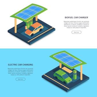 Webbannermalplaatje met isometrische elektrische auto's op lading groene energieconcept