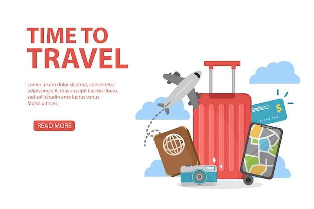 Webbanners ingesteld op het thema van reizen, reizen en toerisme concept