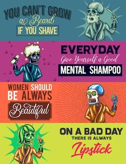Webbannersjabloon met illustraties van scheren, douchen, een masker en lipstische skeletten.