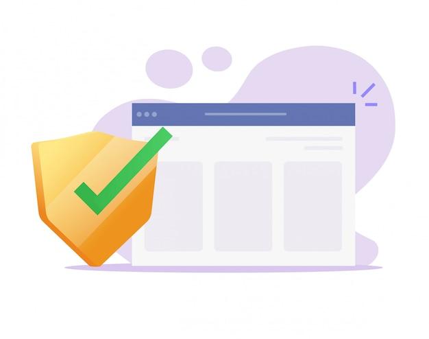 Webbeveiliger online voor internetwebsite veilige bescherming webbrowser