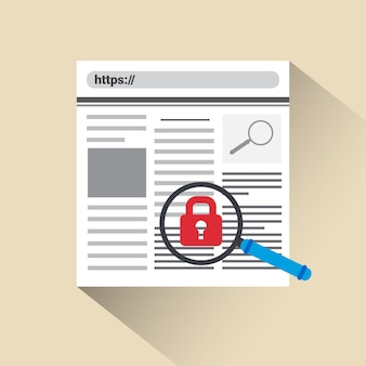 Webbeveiliging en bescherming concept lock icon web search