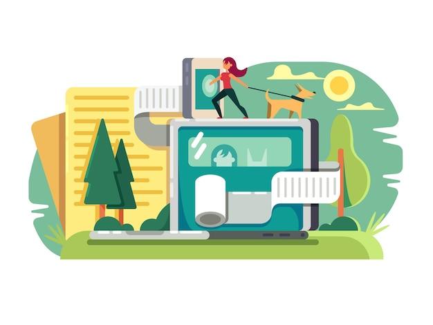 Webblogging conceptueel. beschrijving tijdverdrijf in blogpost op website vector illustratie