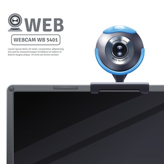 Webcam gefixeerd op computer of laptop met modelgegevens