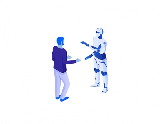 Webcommunicatie met chat bot isometrisch concept. online dialoog mannen met kunstmatige intelligentie.