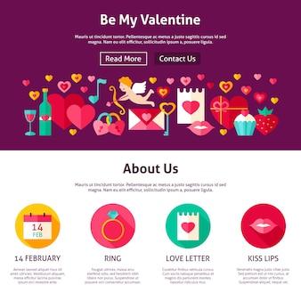 Webdesign be my valentine. vlakke stijl vectorillustratie voor websitebanner en bestemmingspagina. liefde vakantie.