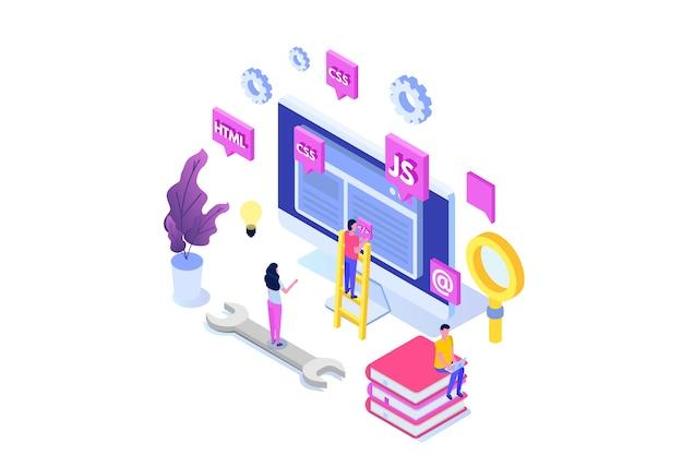 Webdesign en front-end ontwikkeling isometrisch concept