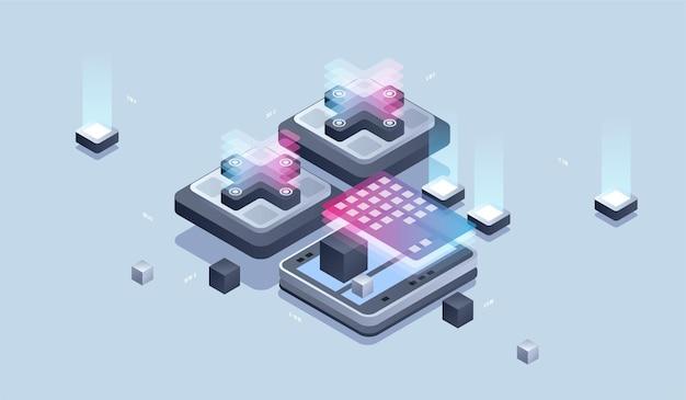 Webdesign en ontwikkeling. ontwikkeling van mobiele applicaties, programmeur en engineering isometrische illustratie.