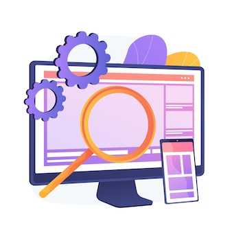 Webdesign. productie en onderhoud van websites. webafbeelding, interfaceontwerp, responsieve website. software engineering en ontwikkeling kleurrijke pictogram.