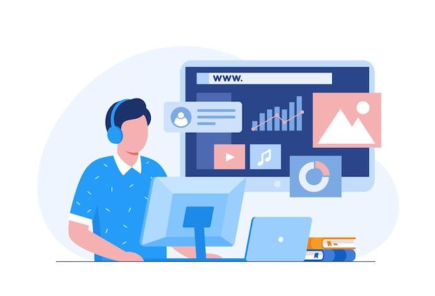 Webdesign, ui ux en programmeur met computer, softwareontwikkeling, vlakke illustratievector