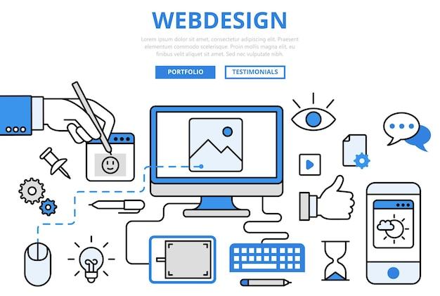 Webdesign website ontwerp gui gebruikersinterface draadframe prototype frontend ontwikkeling internet concept platte lijntekeningen pictogrammen.
