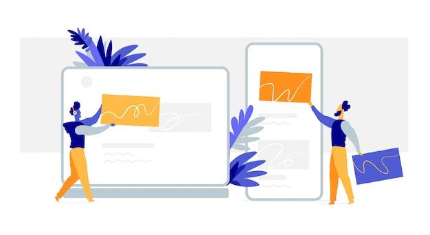 Webdesigners maken de afbeeldingen voor websites, mobiele applicaties, gebruikersinterface