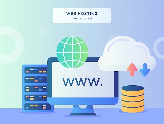 Webhosting illustratie set website display monitor computer vlakbij globe server uploaden downloaden met vlakke stijl.