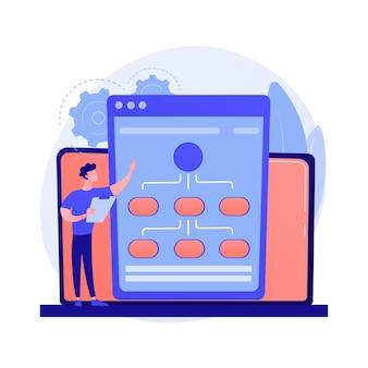 Webhostingservice. informatieketens en contentmanagement. netwerken, verbinding, synchronisatie. internetserver, gegevensopslag.