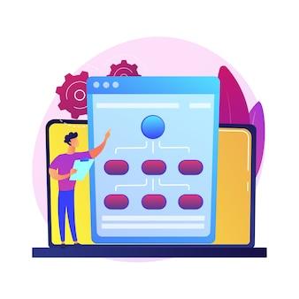 Webhostingservice. informatieketens en contentmanagement. netwerken, verbinding, synchronisatie. internetserver, gegevensopslag