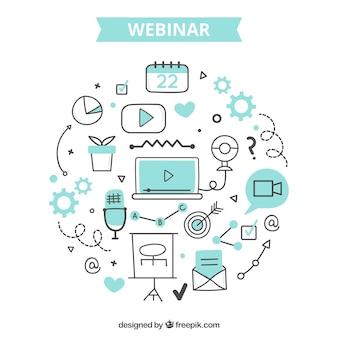 Webinar-concept met creatieve elementen
