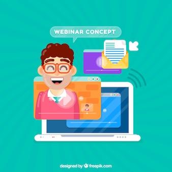 Webinar concept met lachende man