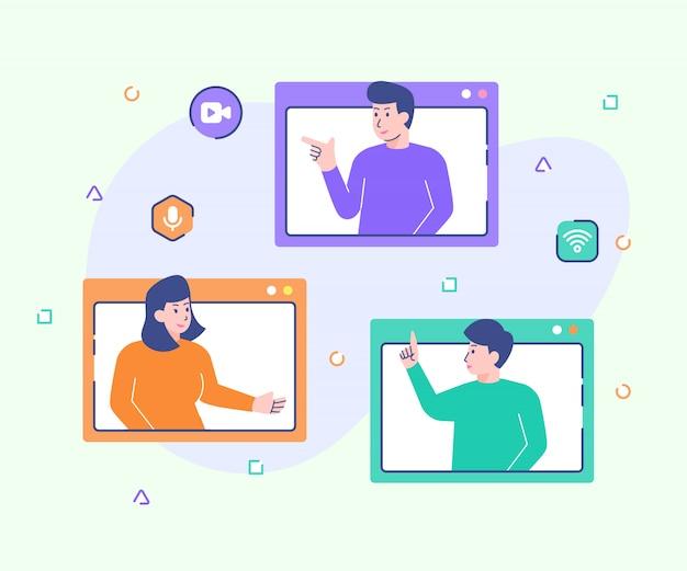 Webinar cursus lezing student interactie communicatie videoconferentie met moderne platte cartoon-stijl.