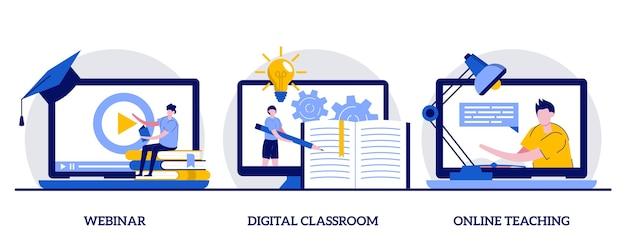 Webinar, digitaal klaslokaal, online onderwijsconcept met klein karakter en pictogrammen