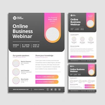 Webinar folder sjabloon set met abstracte vormen