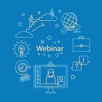 Webinar lijn pictogram vector. online zakendoen en onderwijs. vector illustratie.