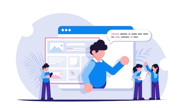 Webinar of videolessen. afstandsmethode van onderwijs. open het browsertabblad