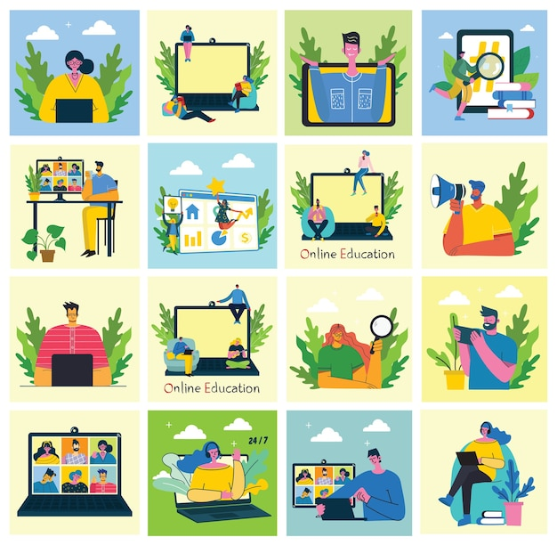 Webinar online concept illustratie. mensen gebruiken videochat op desktop en laptop om een conferentie te houden. aantal mensen bedrijfsactiviteit. werk op afstand vanuit huis. plat moderne vector illustratie.