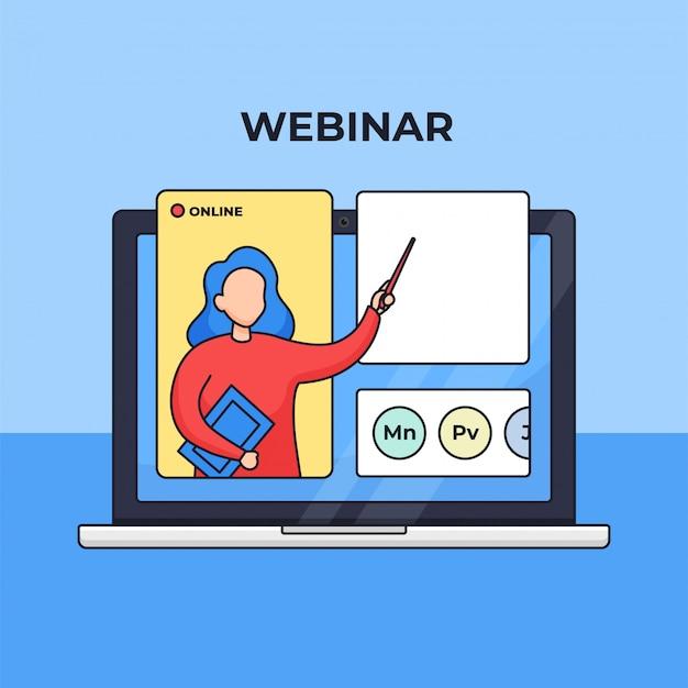 Webinar online cursus moderne digitale verre onderwijs concept schets illustratie