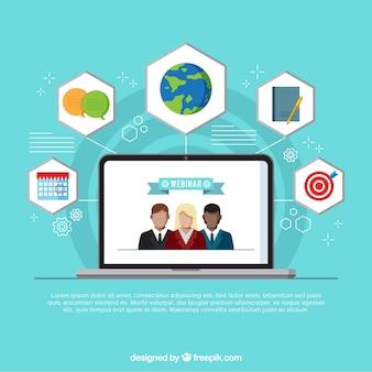 Webinar-ontwerp met personen op scherm
