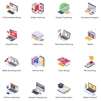 Webinar podcasting isometric vectors pack