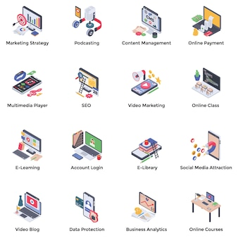 Webinar podcasting isometrische pictogrammen pack