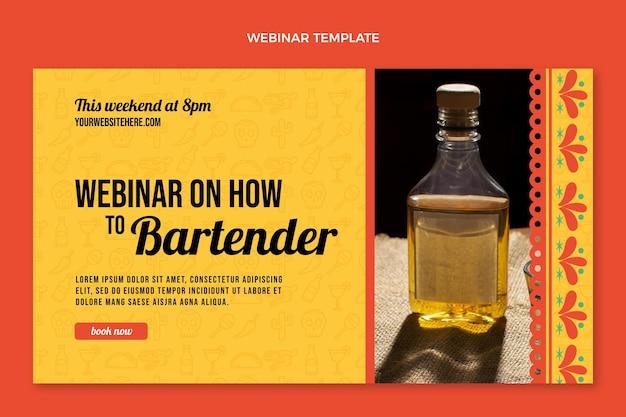 Webinar-sjabloon voor barman in vlakke stijl