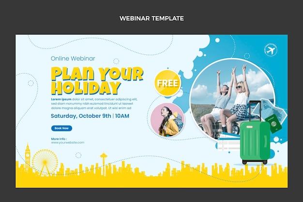 Webinar-sjabloon voor reizen in vlakke stijl