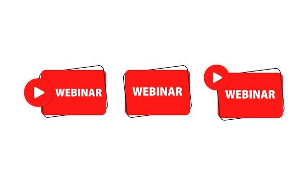 Webinar teken. online cursus, seminar en les. vectoreps 10. geïsoleerd op witte achtergrond.