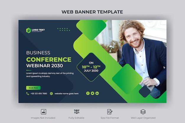 Webinar zakelijke conferentie webbanner en youtube-miniatuursjabloon