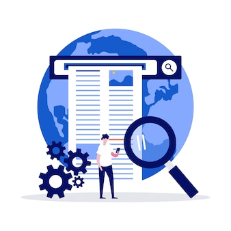 Webinformatie zoekconcept met karakter met behulp van vergrootglas om informatie op internet te vinden.