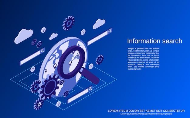 Webinformatie zoeken plat isometrische concept illustratie