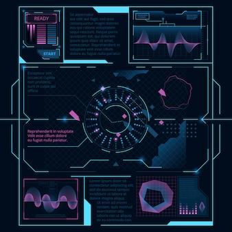 Webinterface voor weergave op scherm voor ruimteschip, hud ui