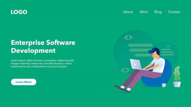 Webkopbalbanner voor website van softwarebedrijf