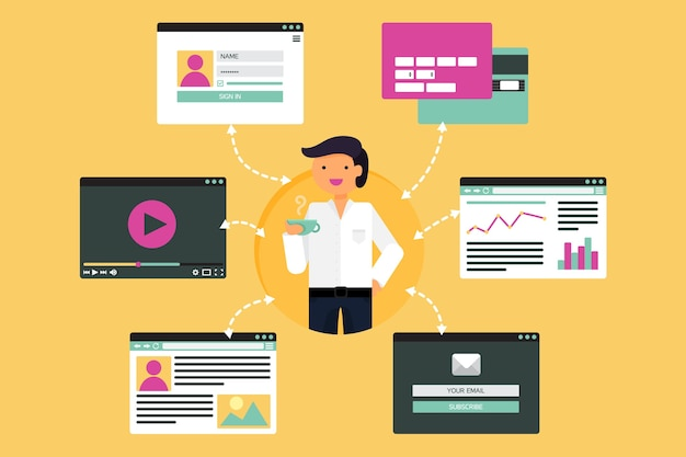 Webleven van zakenman van video, blog, sociale netwerken, online winkelen en e-mail.