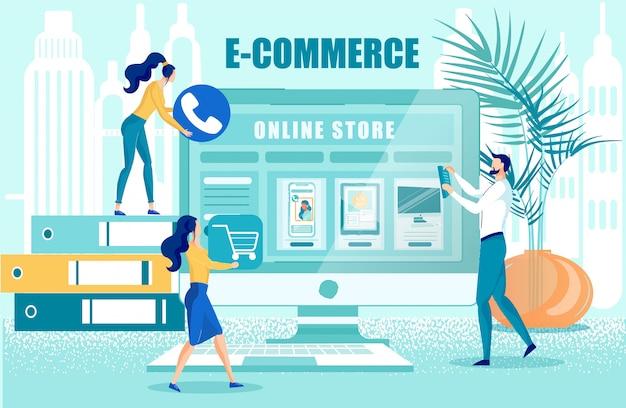 Webontwerpers werken aan online winkelcreatie
