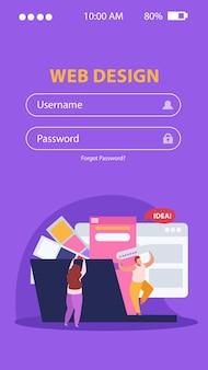Webontwerpkop en smartphone-interface voor app