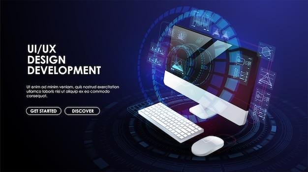 Webontwikkeling, applicatie, codering en programmeren. technologie om software te maken, code van mobiele applicaties. creatieve sjabloon voor web en print.