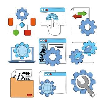 Webontwikkeling digitale software codering instelling ondersteuning proces pictogrammen illustratie