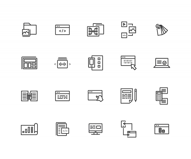 Webontwikkeling gerelateerde lijnpictogrammen