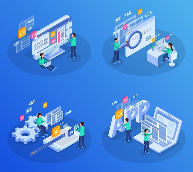 Webontwikkeling isometrische gekleurde concept illustratie